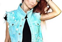 """Women's blue denim vest