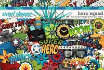 Hero Squad / Superhero digital scrapbooking collection by Studio Flergs & Traci Reed. http://www.sweetshoppedesigns.com/sweetshoppe/product.php?productid=34294