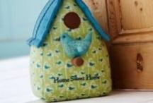 Fabric Door Stop / Home Sweet Home Bird House Shape Fabric Door Stop