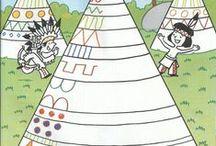 indianen kleur- en werkbladen