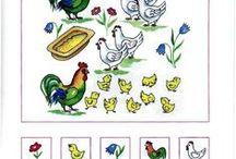 haan, kip (kleur- en werkbladen)