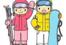 Zima, zimní sporty, sněhuláci