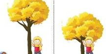 stromy, keře, listy