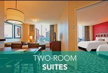 Two-Room Suites / Enjoy our two-room suites with a door you can close for some peace & quiet. Yeah, it's #PrettyGreat.