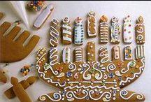 Gingerbread House Hanukkah / Gingerbread houses, menorahs, stars, candles, .........