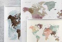 WATERCOLOR MAPS / https://artprintsvicky.com/collections/world-map-posters