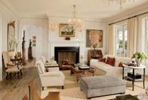Five Favorite Rooms / My narrowed style: a French Country inspired cover photo facilitating comfort & warmth; a blue room with color & plenty of seating; a bath & kitchen clean & crisp with fine appointments (even the way the bath mirror is hung is appealing); a bedroom with sofa seems comfortable & multipurpose; and an art studio that inspires with light, free standing desks, & rolling paint cart.