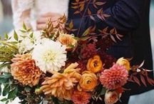 Fall Bridal Bouquets / These fall bridal bouquets are inspired by deep red, burnt orange, golden yellow, and maroon colors. Any of these beautiful bouquets would look gorgeous paired with our Esther Bouquet Brooch, which allows you to take a loved one down the aisle with you. Check out more of our lockets at withyoulockets.com