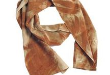 Leaf Print Silk Scarves / Look stunning wearing these elegant original, one-of-a-kind objets d'art. The scarves are created using fallen leaves that are pressed and steamed against the silk.