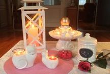 Candle fun / Mostly decorated Partylite candle holders