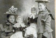 Doll in old photographs.