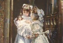 A child with a doll in painting.