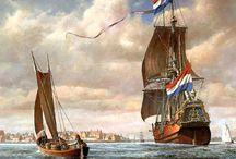 Oude zeilschepen uit de Gouden Eeuw