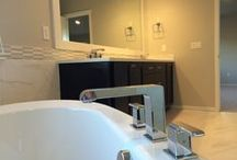 The Glamorous remodel / Creating a new & exciting home! All new flooring, counters, tiles, paint, trim, plumbing, lighting and custom built-ins.