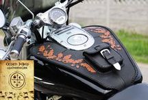 Motorcycle custom leather saddle bags, handmade leathercraft for choppers. www.leatherwork.hu