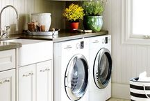 Laundry Room / Why cant a laundry room be functional and fabulous? Inspiration for turning a bland laundry room into a multifunction Laundry Room and Workshop. From crafts to woodworking. This room has it all.
