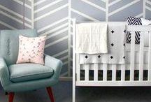 Nursery / A modern meets traditional nursery for the urban baby.