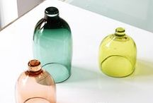 Déco en verre / #glassware #bottle #vase #glass #design #color #lamp