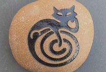 Feline Stone Art