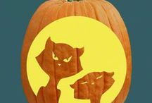 """Cats & Witches Pumpkin Carving Patterns / Sit down for a """"spell"""" and carve out a few black cats and witchy hats!"""