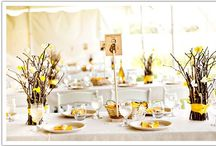 Summer-Fall wedding / Table arrangements with sticks brown blue tangerine sage wedding