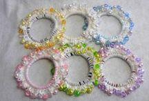 Adult size Scrunchie - Sparkle Plastic beads Crocheted Scrunchie / Japanese hand kawaii shushu / Sparkle Plastic beads Crocheted Scrunchie
