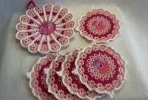 Set of Pot mat & 5 Coasters - Good bargain! / Japanese handmade crocheted pot mat and coasters.