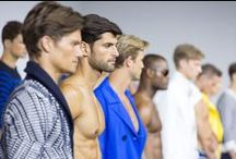 GUYS on the PODIUM / Male models on the catwalk.