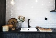 KITCHEN / Kitchen design ideas to inspire your next remodel! High contrast colors & modern kitchens with rustic & vintage accents.