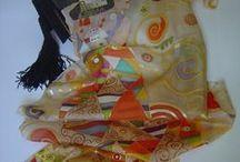 Klimt inspired silk scarves / Hand painted Silk scarves for Klimt lovers . No copies , just inspired by Klimt art .