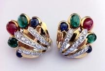 signed earrings / David Webb gem set earclips