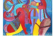 Oleos de Jaime Goded. / Se irán colgando las pinturas al óleo sobre tela, madera y otros soportes realizadas por el pintor mexicano Jaime Goded.