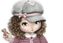 Decoupage,big eyed,jolie,cute,dolls,children,pic,illustration,transfer, french,vintage