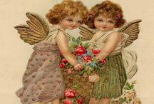Decoupage,angels,cherub,pic,illustration,transfer, french,vintage