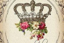 Decopauge,crown,chandelaber,pic,illustration,transfer,french,vintage