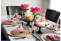 Kate Spade Inspired Parties - Black | Pink | Gold / Check out these black, pink and gold party designs to add class and elegance to your next event!  A Kate Spade inspired party is a popular theme for Bridal Showers and Bachelorette Parties. / by Partystock