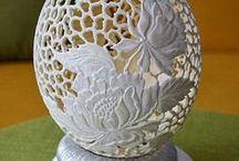 carved ostrich egg - ażurowe strusie jajo / pisanka ażurowa z naturalnej wydmuszki jaja strusiego