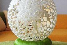 struś po raz czwarty egg art / jajo strusia rzeźbione