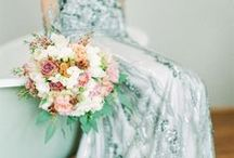 Non-White / Wedding Dresses With Color / Because not all brides want to wear just white! Some beautiful wedding dresses here with color. Non-white wedding dress inspiration. Ombre wedding dresses. Grey wedding dresses. Green wedding dresses. Peach wedding dresses.