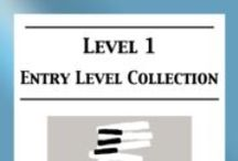 Level 1 (entry level) piano sheet music / Level 1 (Entry level) piano sheet music for classical, folk, & ragtime arranged by Mizue Murakami from Galaxy Music Notes.