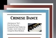 """Chinese Dance: Multi Levels - Covers / Cover sheets of piano sheet music of """"Chinese Dance"""" from The Nutcracker in multi levels arranged & edited by Mizue Murakami from Galaxy Music Notes"""