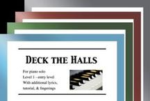 """Deck the Halls: Multi Levels - Covers / Cover sheets of piano sheet music of """"Deck the Halls"""" in multi levels arranged & edited by Mizue Murakami from Galaxy Music Notes."""