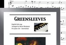 """Greensleeves: Multi Levels - Covers / Cover sheets of piano sheet music of """"Greensleeves"""" in multi levels arranged & edited by Mizue Murakami from Galaxy Music Notes."""