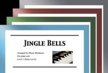"""Jingle Bells: Multi Levels - Covers / Cover sheets of piano sheet music of """"Jingle Bells"""" in multi levels arranged & edited by Mizue Murakami from Galaxy Music Notes."""