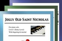 """Jolly Old Saint Nicholas: Multi Levels - Covers / Cover sheets of piano sheet music for """"Jolly Old Saint Nicholas"""" in multi levels arranged & edited by Mizue Murakami from Galaxy Music Notes."""