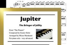 Jupiter from The Planets: Multi Levels - Covers / Cover sheets of piano sheet music for Jupiter from The Planets in multi levels arranged & edited by Mizue Murakami from Galaxy Music Notes.