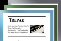 """Trepak: Multi Levels - Covers / Cover sheets of piano sheet music for """"Trepak"""" from The Nutcracker in multi levels arranged & edited by Mizue Murakami from Galaxy Music Notes."""