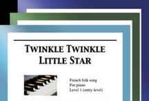 """Twinkle Twinkle Little Star: Multi Levels - Covers / Cover sheets of piano sheet music for """"Twinkle Twinkle Little Star"""" in multi levels arranged & edited by Mizue Murakami from Galaxy Music Notes."""