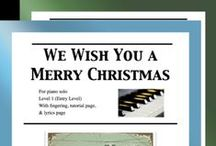 """We Wish You a Merry Christmas: Multi Levels - Covers / Cover sheets of piano sheet music for """"We Wish You a Merry Christmas"""" in multi levels arranged & edited by Mizue Murakami from Galaxy Music Notes."""