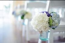...and something blue / Indigo, blue, and deep lavender toned floral bouquets and accents